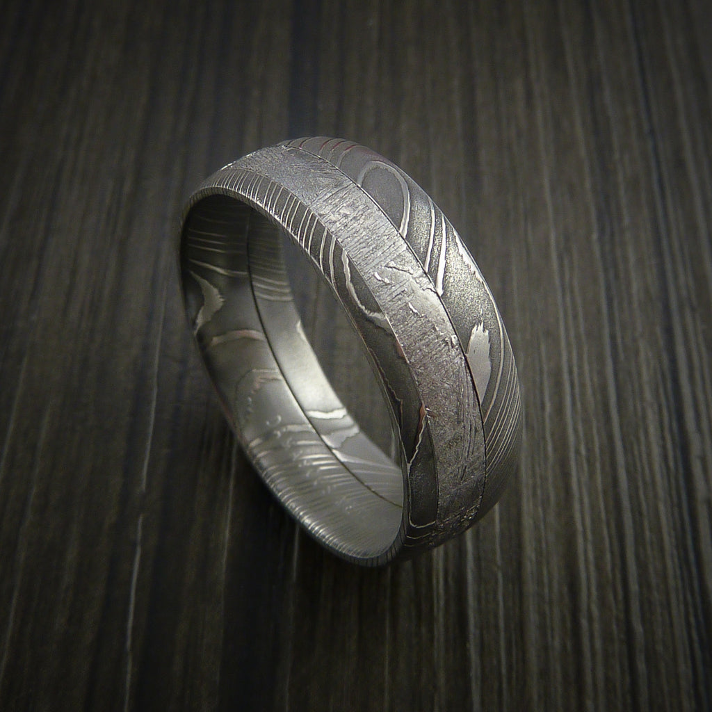 Gibeon Meteorite In Damascus Steel Wedding Band Revolution Jewelry