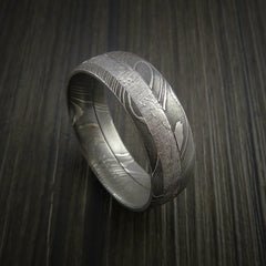 Gibeon Meteorite in Damascus Steel Wedding Band Made to any Size and Width - Revolution Jewelry  - 4