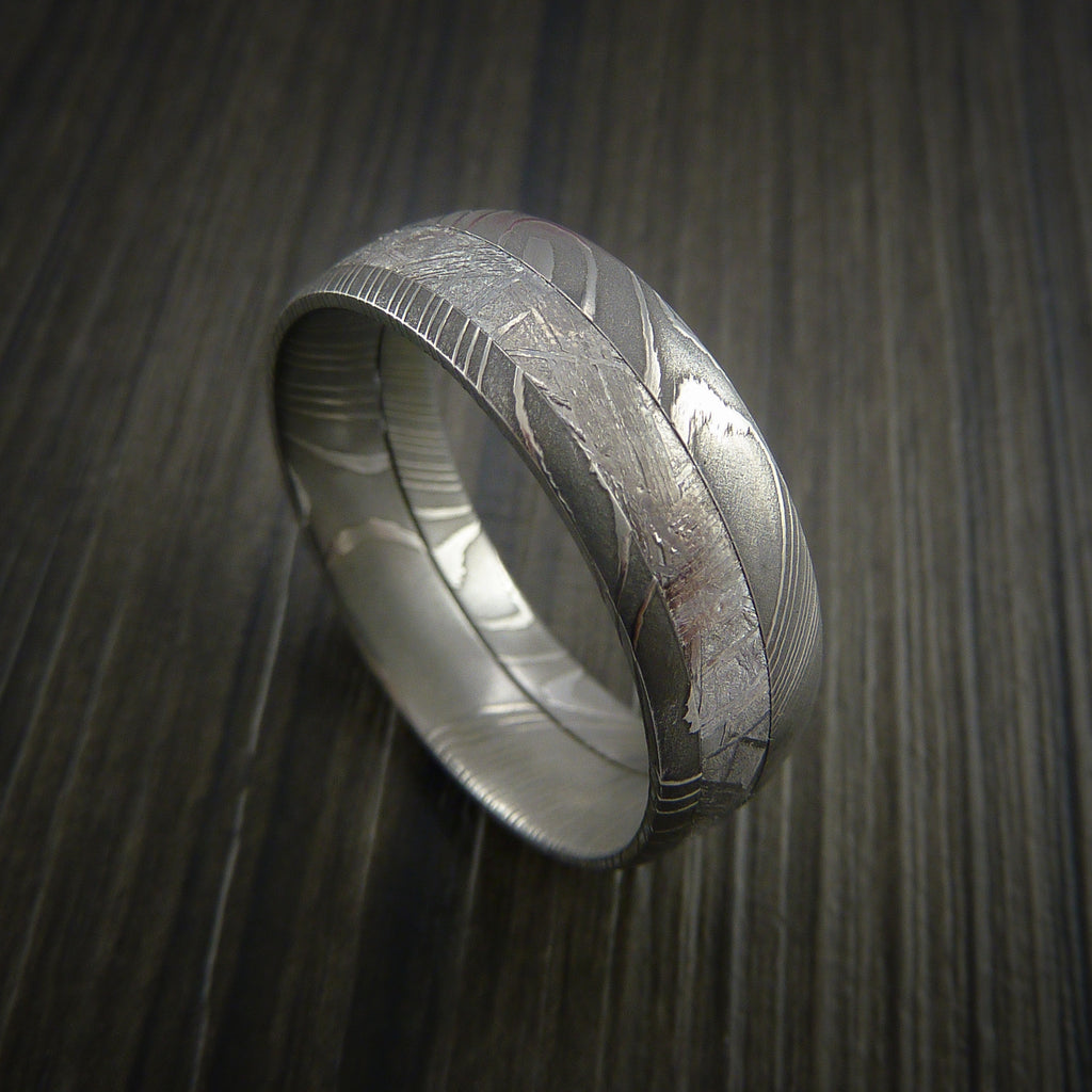 Gibeon Meteorite In Damascus Steel Wedding Band Made To