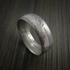 Gibeon Meteorite in Damascus Steel Wedding Band Made to any Size and Width - Revolution Jewelry  - 6