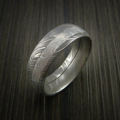 Gibeon Meteorite in Damascus Steel Wedding Band Made to any Size and Width - Revolution Jewelry  - 5