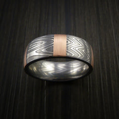 Damascus Steel Ring and 14k Rose Gold Stripe Pattern Wedding Band Zebra Look - Revolution Jewelry  - 2
