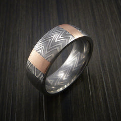 Damascus Steel Ring and 14k Rose Gold Stripe Pattern Wedding Band Zebra Look - Revolution Jewelry  - 3