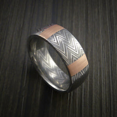 Damascus Steel Ring and 14k Rose Gold Stripe Pattern Wedding Band Zebra Look - Revolution Jewelry  - 1