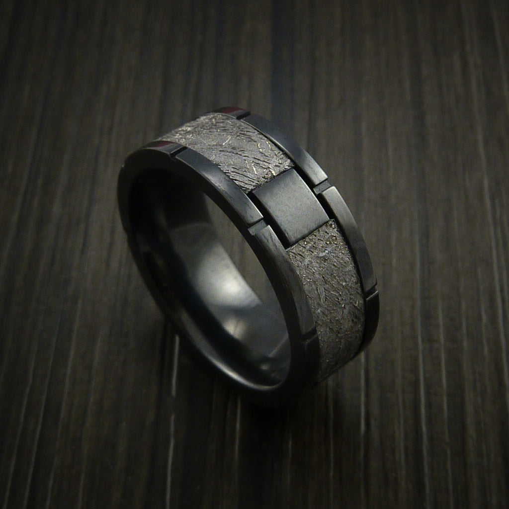 Gibeon Meteorite in Black Zirconoium Wedding Band Made to any Sizing and Width - Revolution Jewelry  - 1