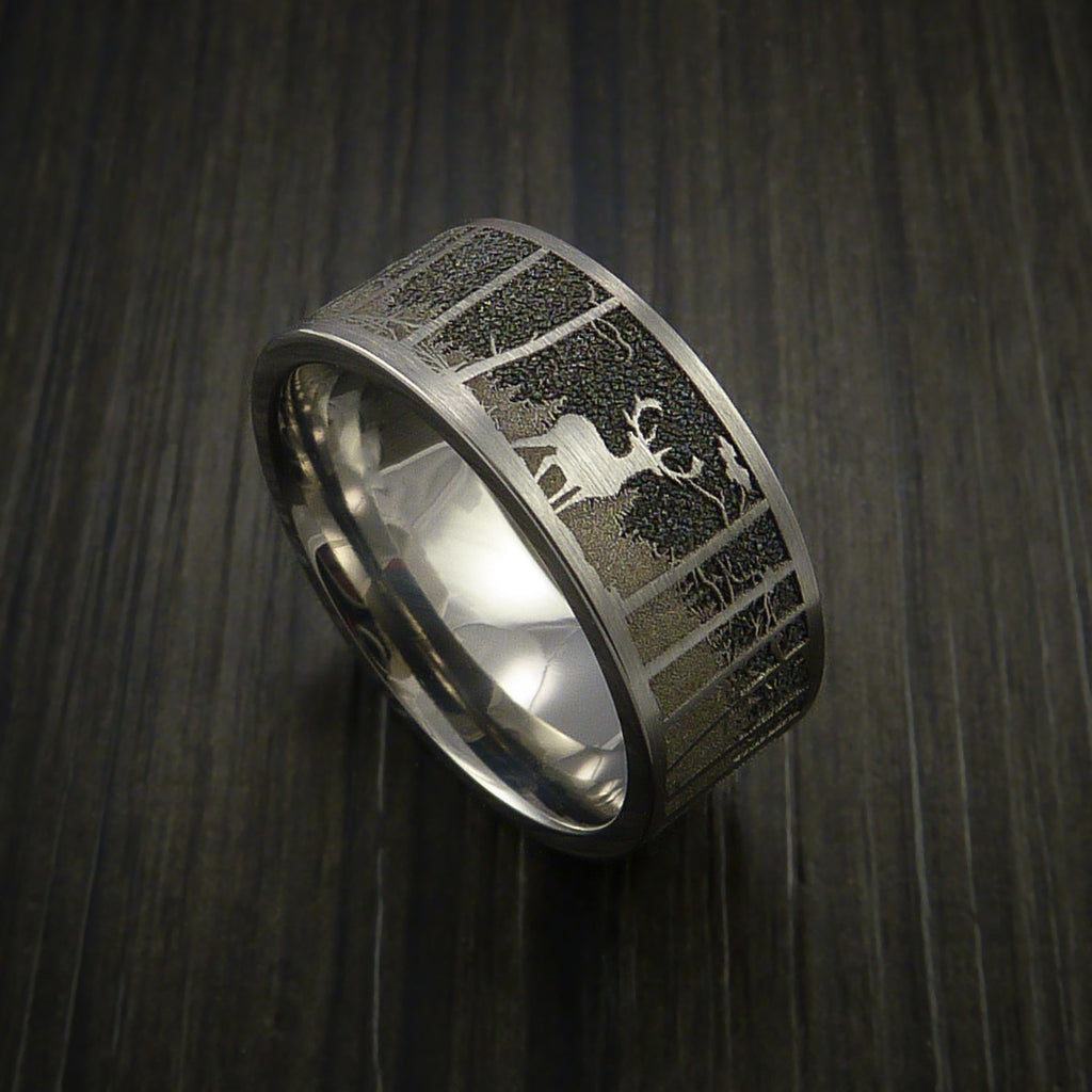 Elk In The Woods Hunter Wedding Ring Cobalt Chrome Band