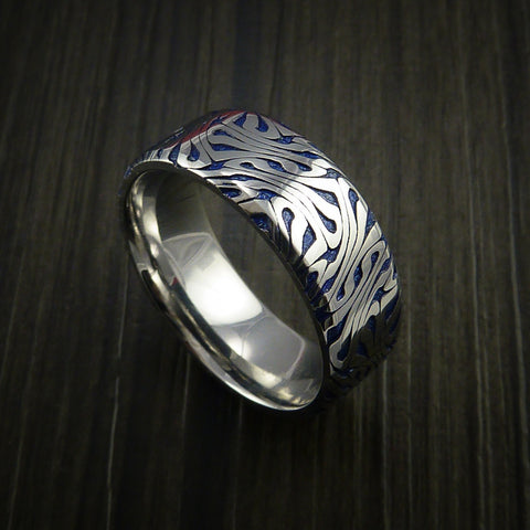 Cobalt Chrome Marble Swirl Twist with Anodized Blue Ring Made to Any Sizing