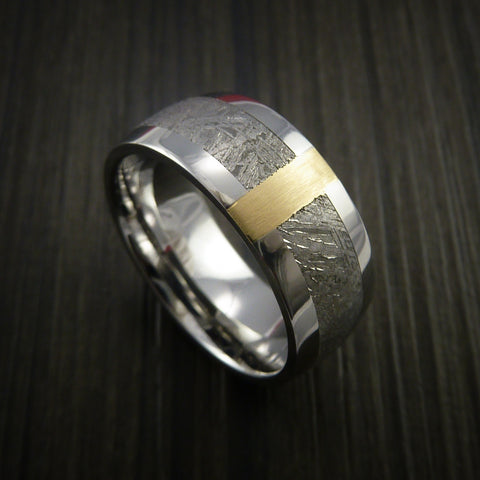 Gibeon Meteorite in Cobalt Chrome and 14k Yellow Gold Wedding Band Made to any Sizing