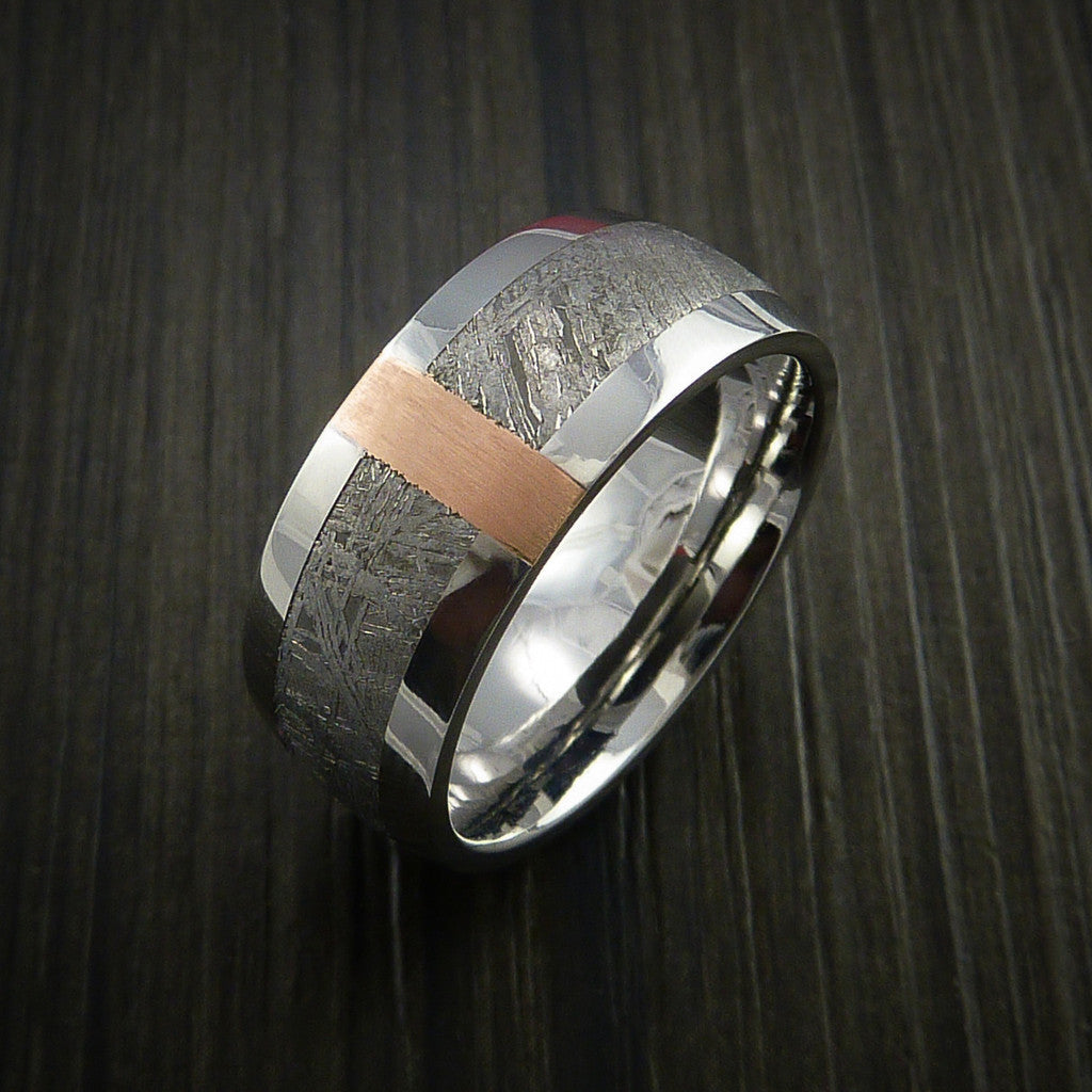 Gibeon Meteorite in Cobalt Chrome and 14k Rose Gold Wedding Band Made to any Sizing