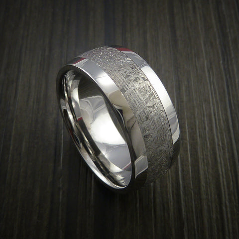 gibeon meteorite in cobalt chrome wedding band made to any sizing and width - Meteorite Wedding Ring