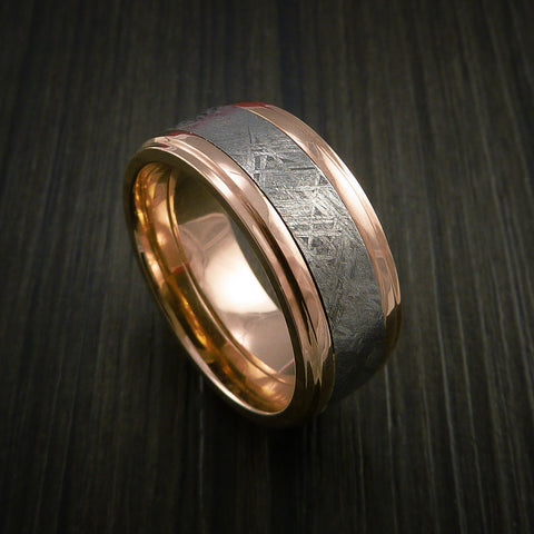 gibeon meteorite in 14k rose gold wedding band made to any sizing and width - Meteorite Wedding Ring