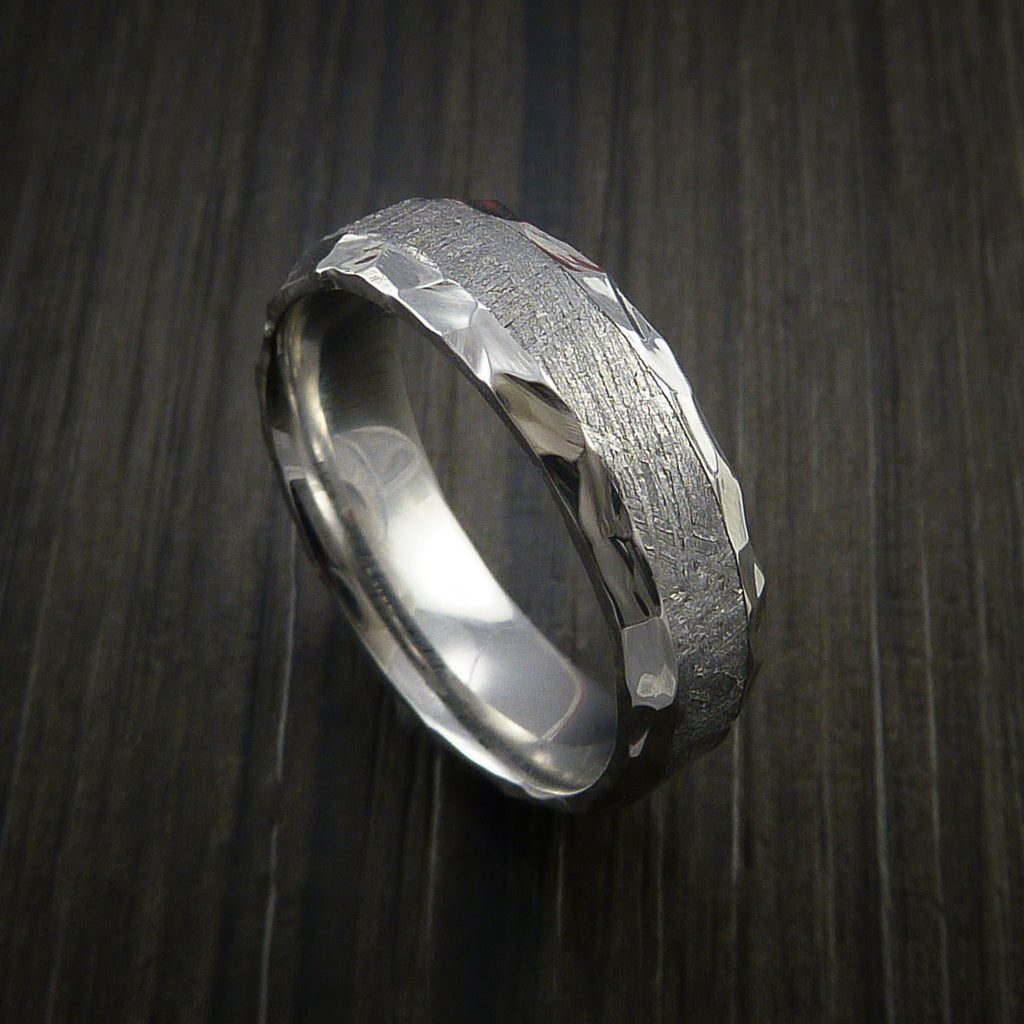 Gibeon Meteorite in Cobalt Chrome Wedding Band Made to any Sizing and Width - Revolution Jewelry  - 1