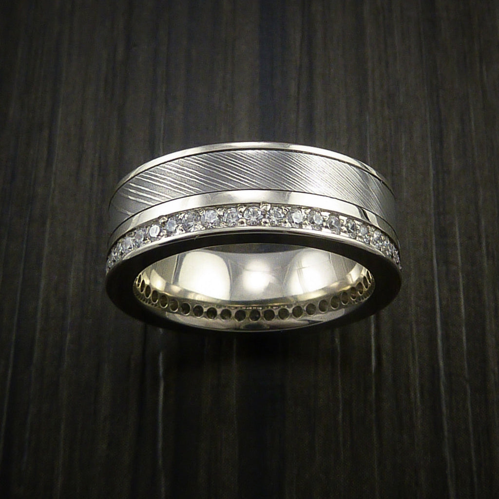 White Gold Eternity Band, Damascus Steel Ring with 30+ Beautiful Diamonds