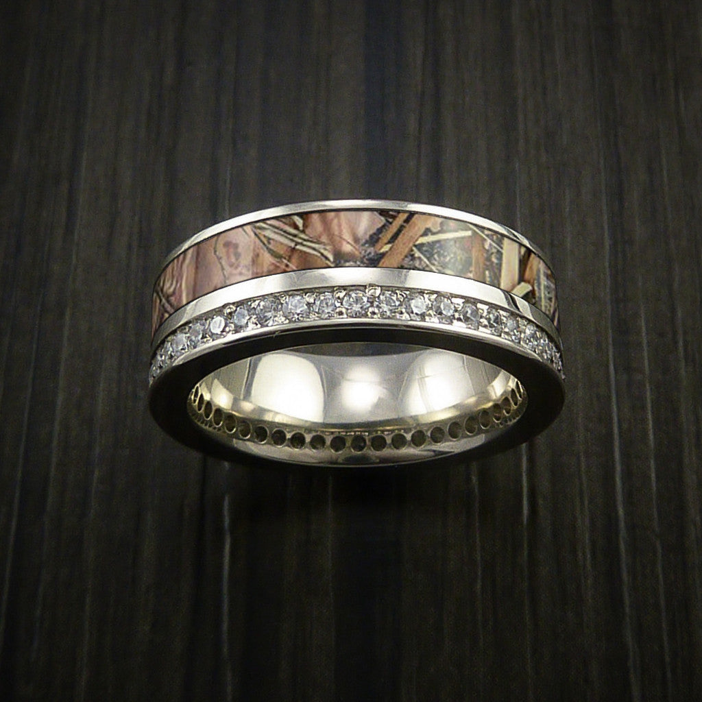 King's Camo White Gold Eternity Band Ring with 30+ Diamonds