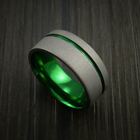 Titanium Wide Band Fine Jewelry Ring Made to Any Size Green Anodized