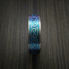 Titanium Anodized Celtic Band Infinity Symbolic Wedding Ring Custom Made - Revolution Jewelry  - 3