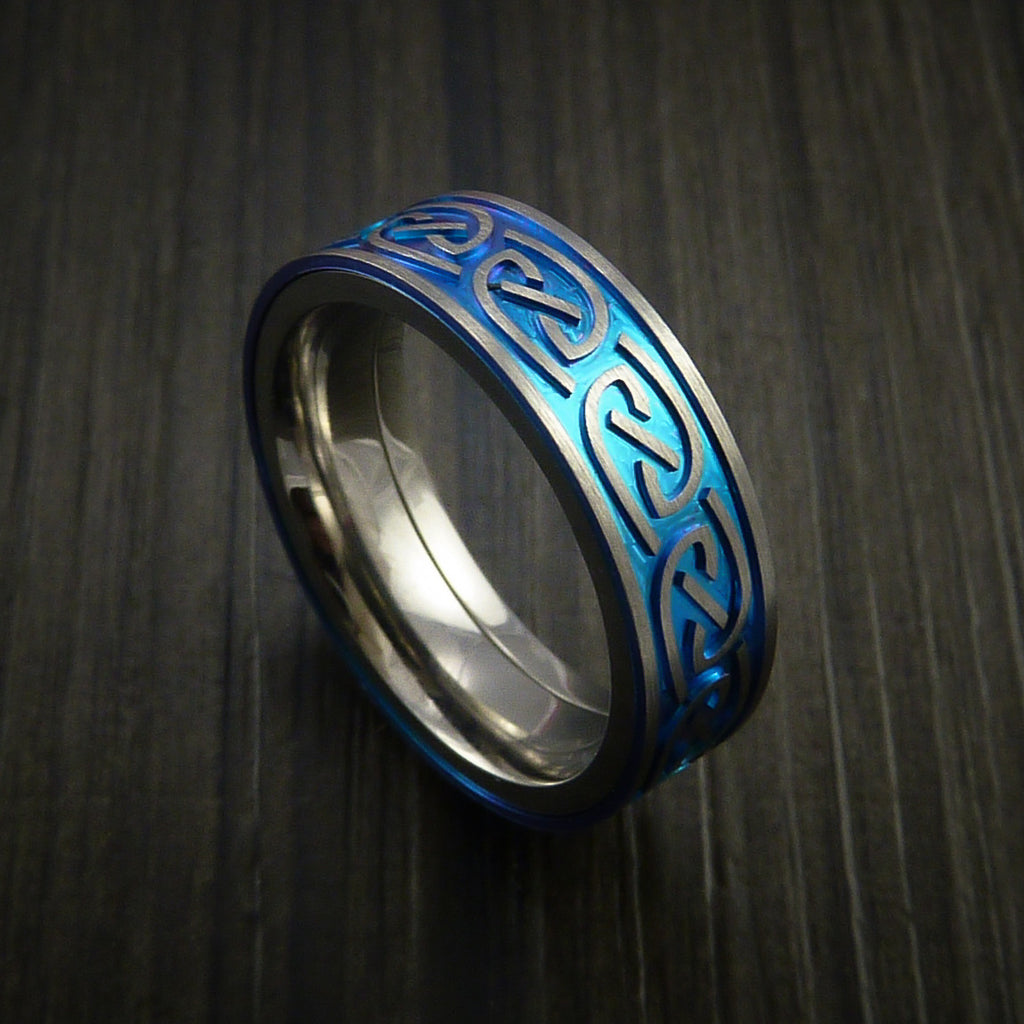 Titanium Anodized Celtic Band Infinity Symbolic Wedding Ring Custom Made - Revolution Jewelry  - 1