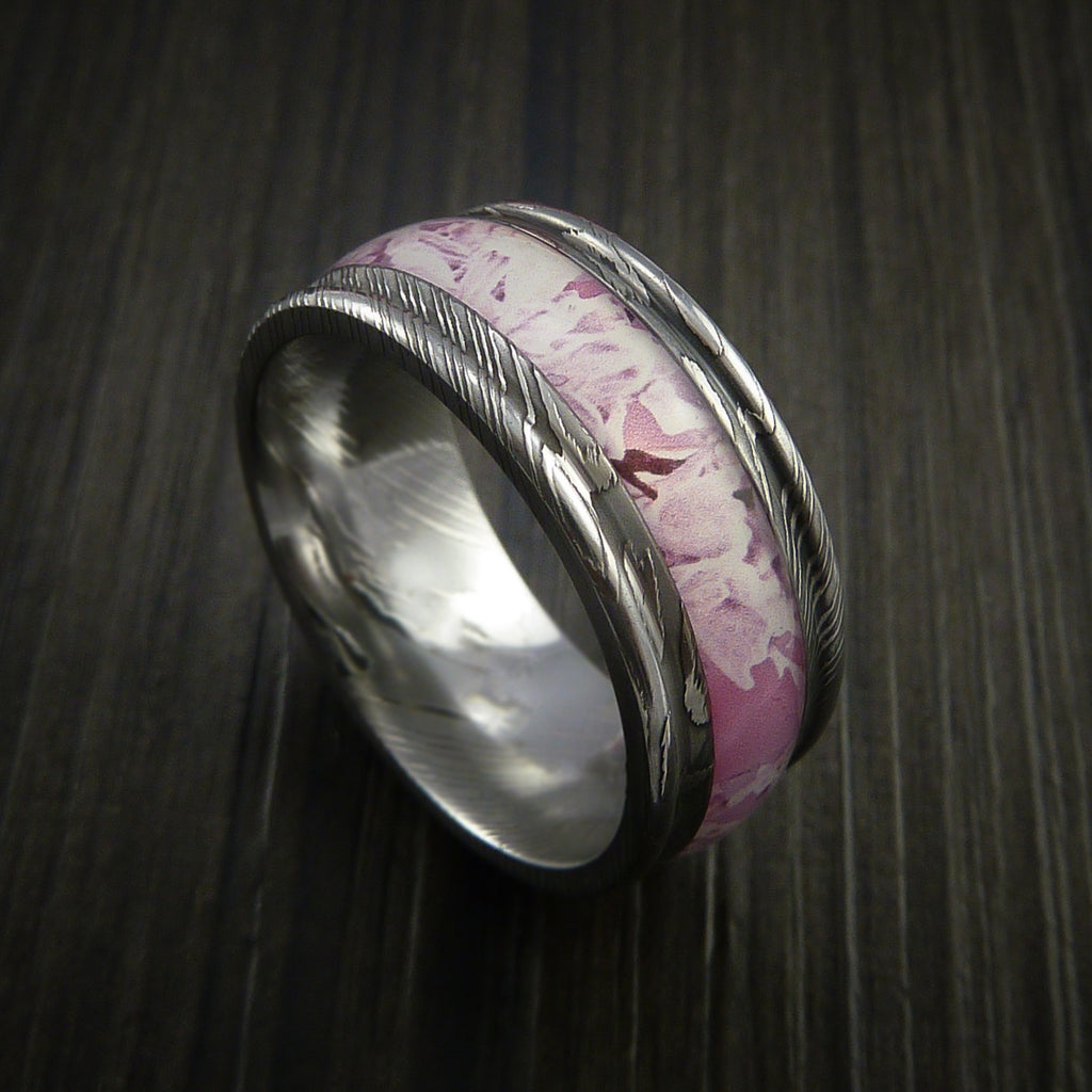 King's Camo PINK SHADOW and Damascus Steel Ring Traditional Style Band Made Custom
