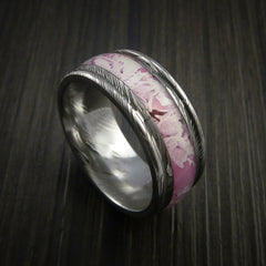 King's Camo PINK SHADOW and Damascus Steel Ring Traditional Style Band Made Custom - Revolution Jewelry  - 1