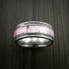 King's Camo PINK SHADOW and Damascus Steel Ring Traditional Style Band Made Custom - Revolution Jewelry  - 2