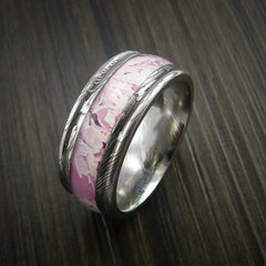 King's Camo PINK SHADOW and Damascus Steel Ring Traditional Style Band Made Custom - Revolution Jewelry  - 3