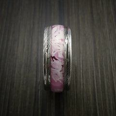 King's Camo PINK SHADOW and Damascus Steel Ring Traditional Style Band Made Custom - Revolution Jewelry  - 4