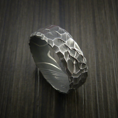 Hammered Damascus steel ring