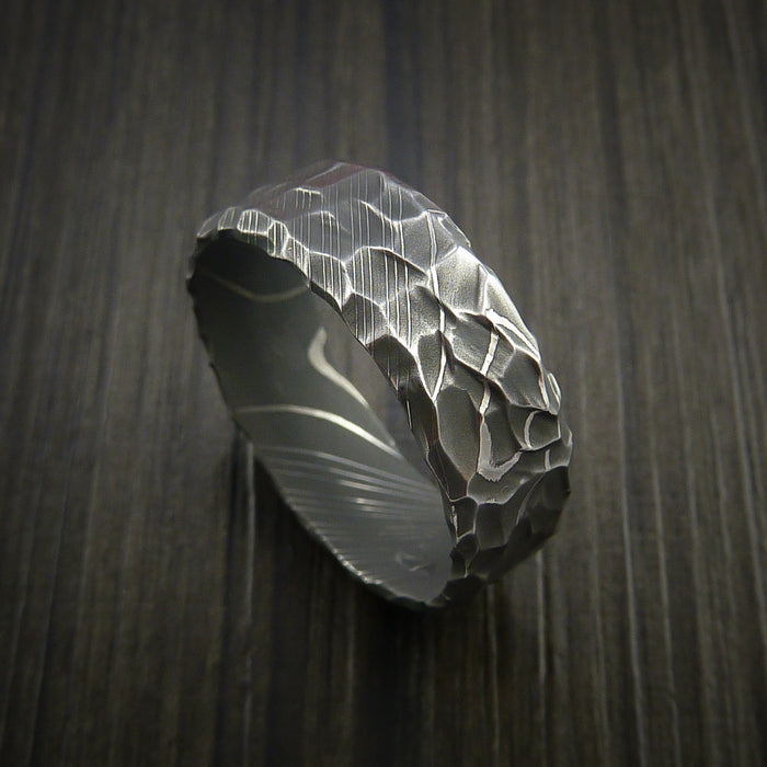 Damascus Steel Ring with Hammer Rock Finish Custom Made