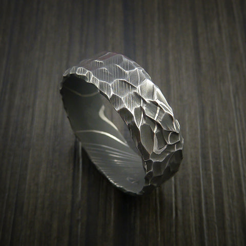 Damascus Steel Ring with Hammer Rock Finish Custom Made to Any Size