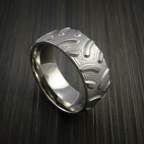 Titanium Knobby Tire Tread Pattern Ring Custom Made Band