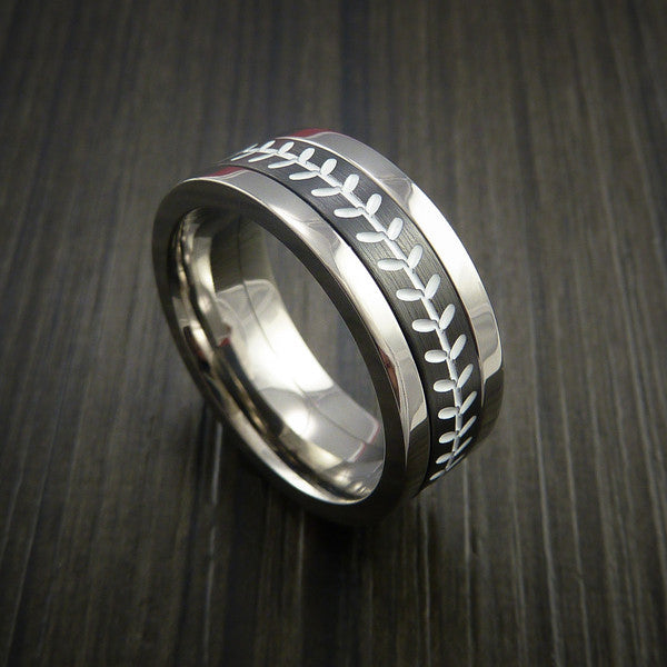 Unique Cobalt Chrome and Black Zirconium Baseball Ring with Strait Stitching