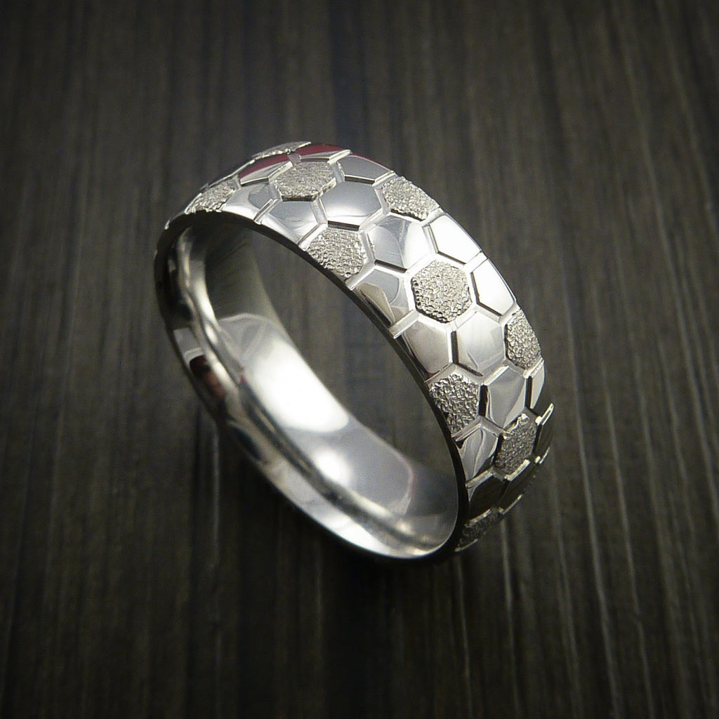 Cobalt Chrome Soccer Ball Ring with Signature Football Polygon Pattern by Revolution Jewelry