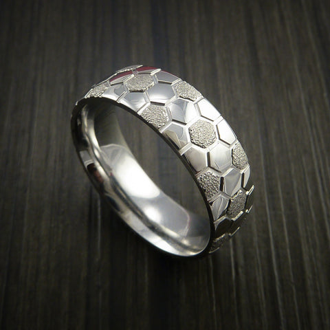 Cobalt Chrome Soccer Ball Ring with Signature Football Polygon Pattern