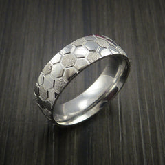 Cobalt Chrome Soccer Ball Ring with Signature Football Polygon Pattern - Revolution Jewelry  - 3