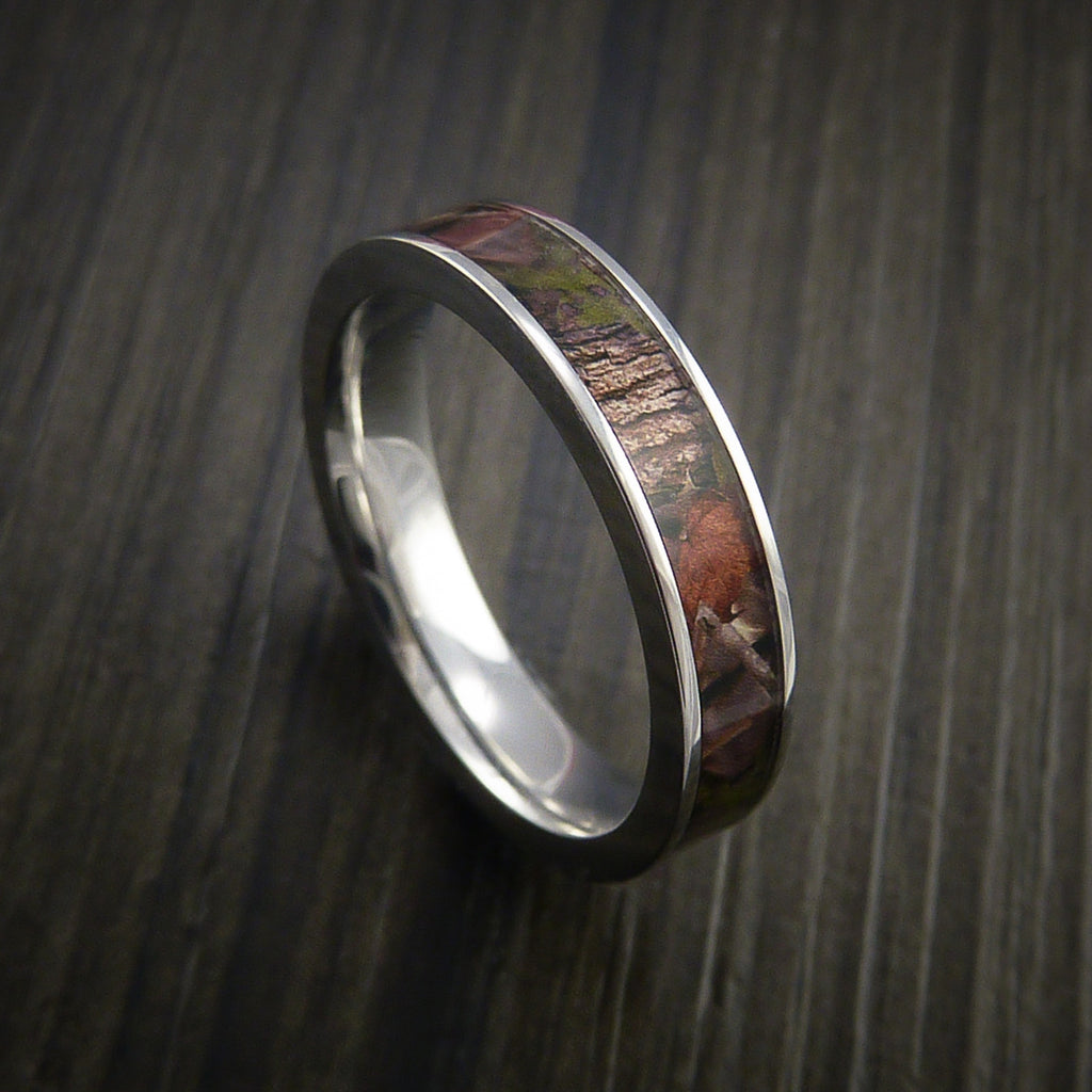King's Camo WOODLAND SHADOW and Cobalt Chrome Ring Camo Style Band Made Custom - Revolution Jewelry  - 1