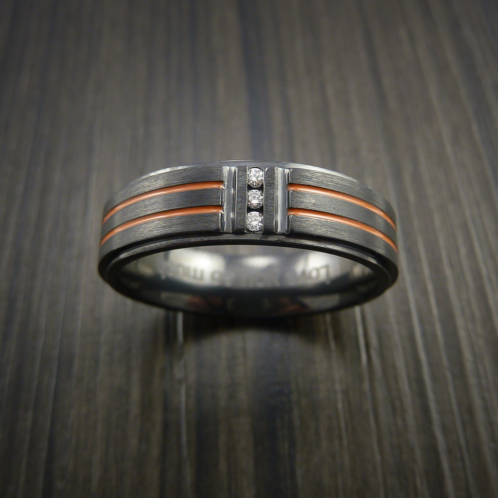 Black ZIrconium and Three Diamond Ring with Color Inlay Made to Any Size