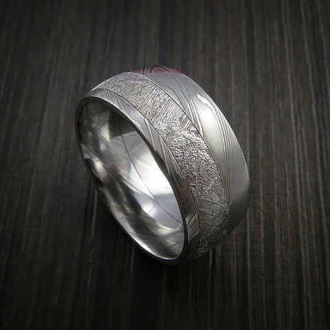 Gibeon Meteorite in Damascus Steel Wedding Band Made to any Sizing and Width