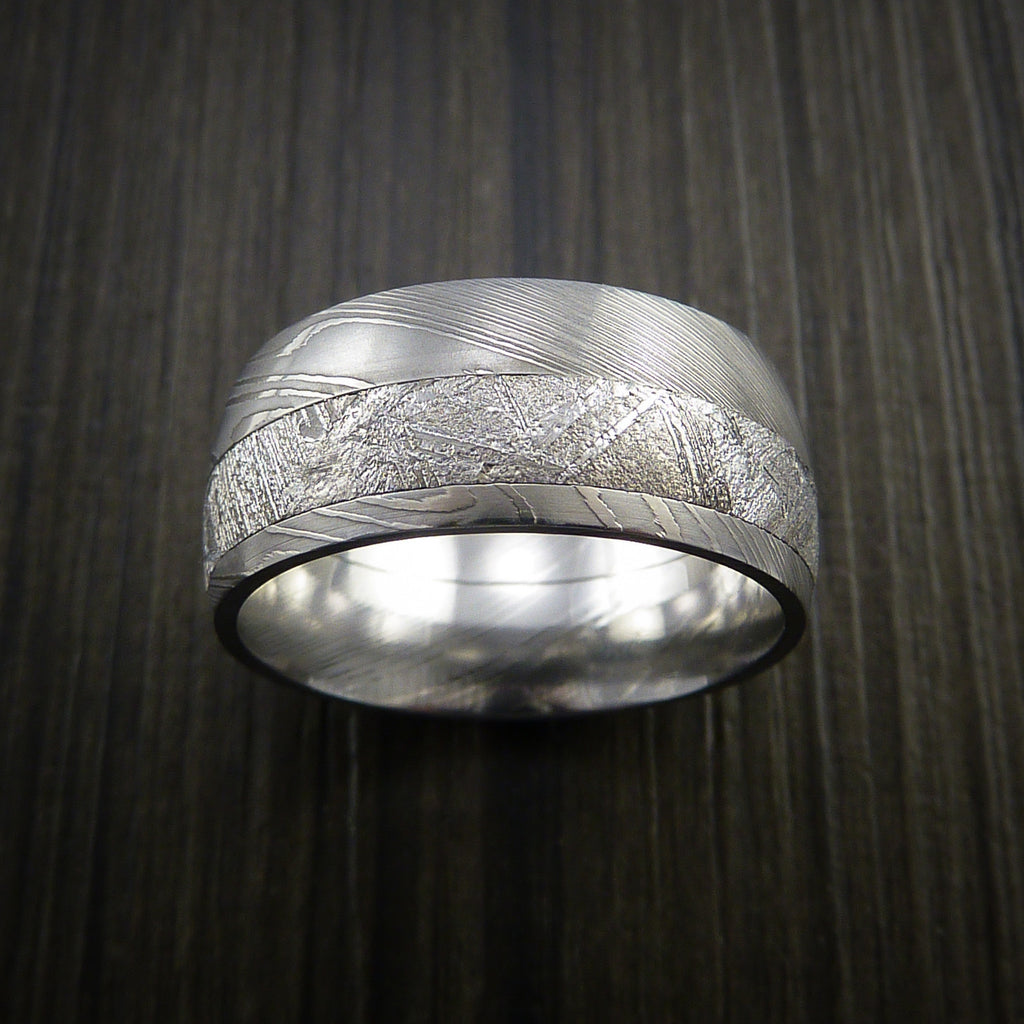 Gibeon Meteorite in Damascus Steel Wedding Band