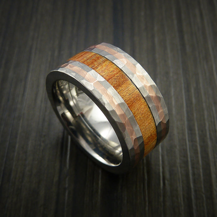 Osage Orange Wood and Titanium Ring with Inlaid Rose Gold Band Custom Made