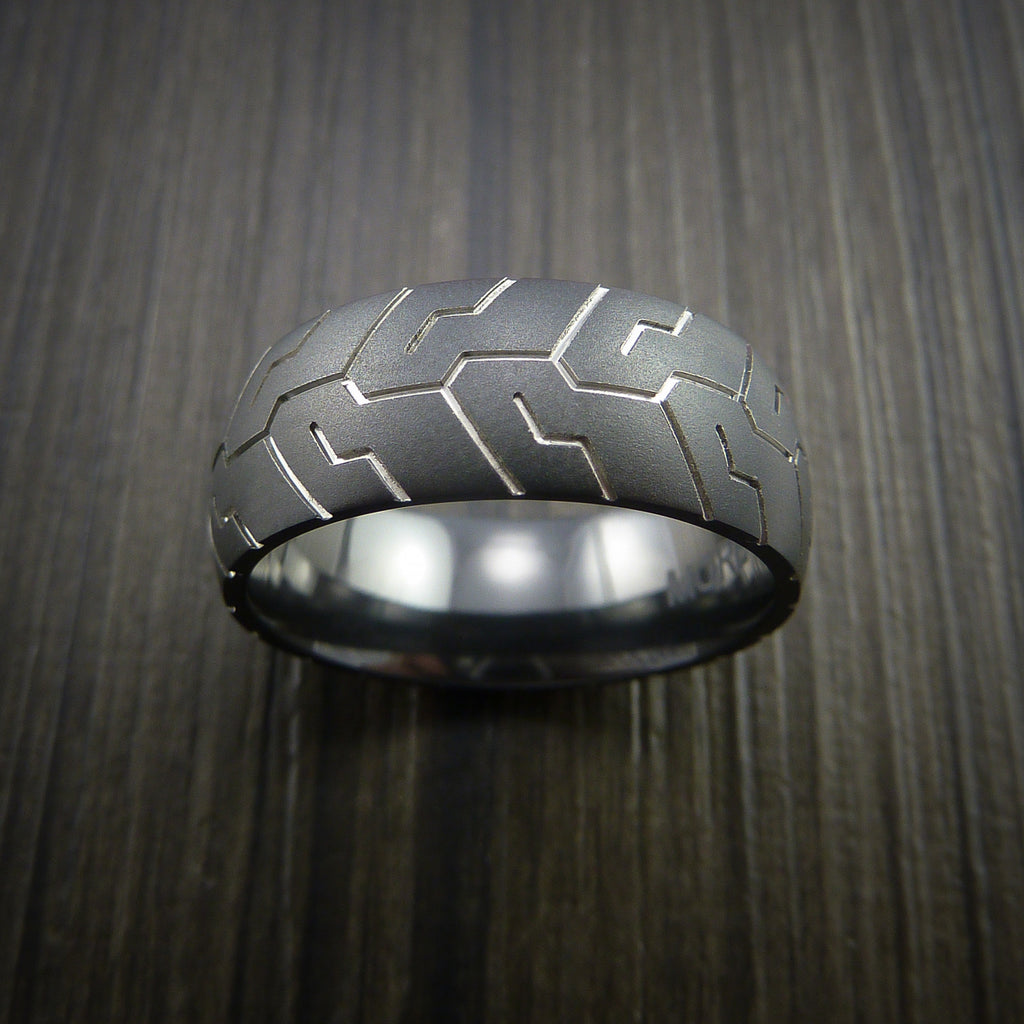 black zirconium tire tread textured carved ring tire tread wedding band Black Zirconium Tire Tread Textured Carved Ring by Revolution Jewelry
