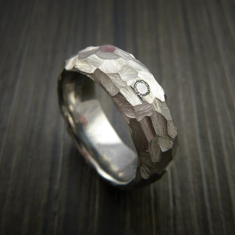 Diamond Titanium Ring Modern Style Rock Hammer Finish Band Fashion Ring Made to Any Size