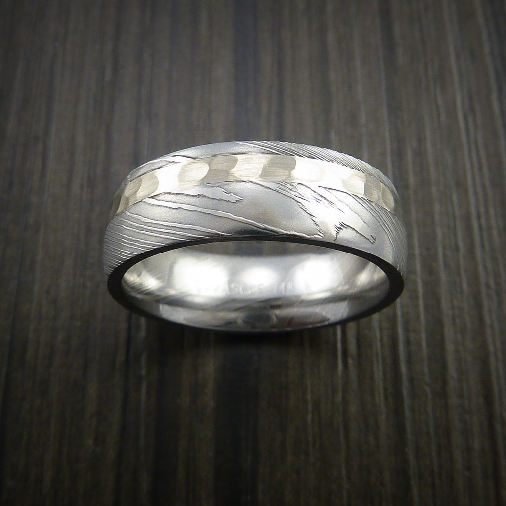 Damascus Steel 14K White Gold Ring Wedding Band Custom Made Hammer Finish