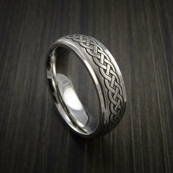 Cobalt Chrome Celtic Band Irish Knot Ring Carved Pattern Design