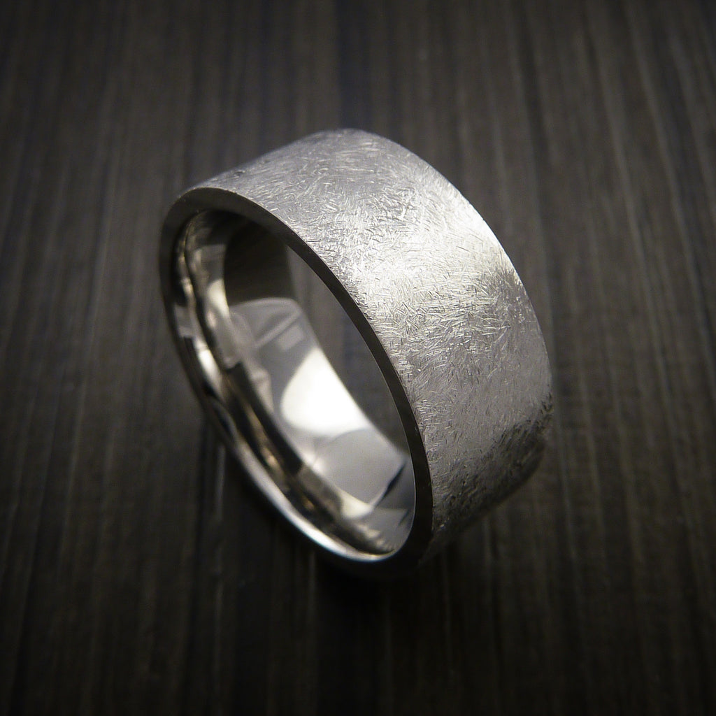 Cobalt Chrome Wide Ring Distressed Smooth Finish Band Made to Any Sizing by Revolution Jewelry