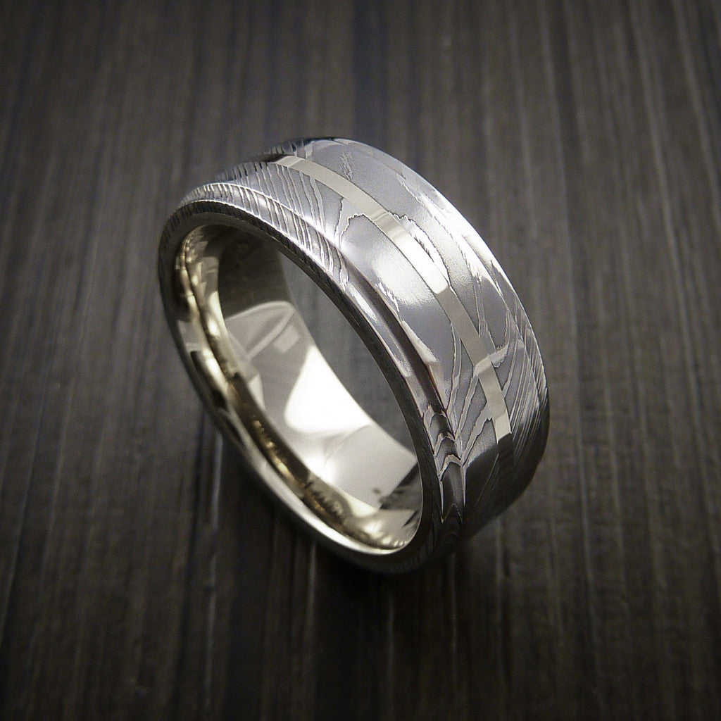 Damascus Steel 14K White Gold Ring with Gold Sleeve Wedding Band Custom Made