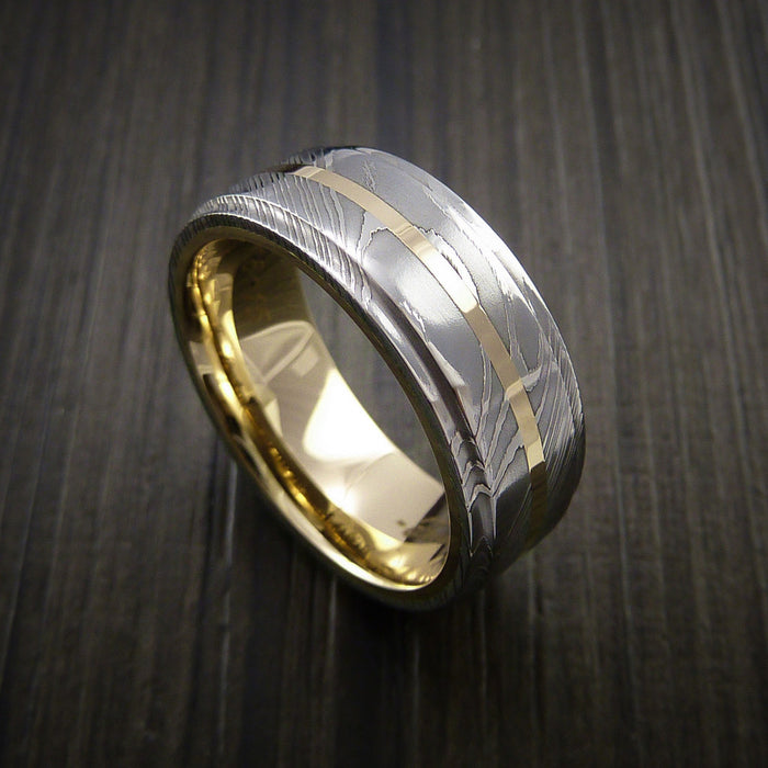 Damascus Steel 14K Yellow Gold Ring with Gold Sleeve Wedding Band Custom Made