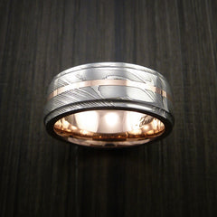 Damascus Steel 14K Rose Gold Ring with Gold Sleeve Wedding Band Custom Made by Revolution Jewelry