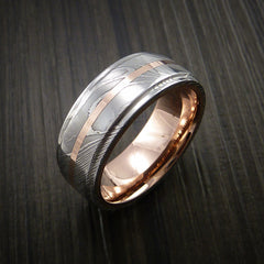 Damascus Steel 14K Rose Gold Ring with Gold Sleeve Wedding Band Custom Made - Revolution Jewelry  - 3