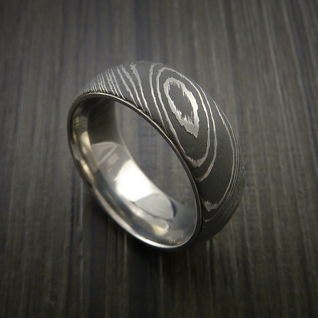 Damascus Steel Ring with Titanium Band inside Sleeve - Revolution Jewelry  - 1