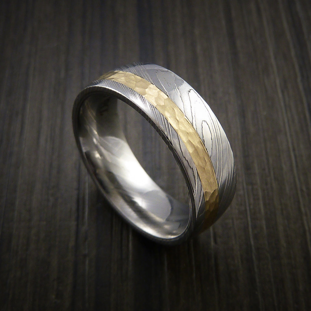 Damascus Steel 14K Yellow Gold Ring Wedding Band Custom Made Hammer Finish by Revolution Jewelry